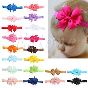 20 Pcs Newborn Toddler Girl Vintage Baby Headband Lot Elastic Hair bow Headdress