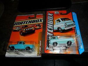 2-LOT-HTF-Color-Matchbox-Construction-039-57-GMC-Pickup-amp-1966-Dodge-A100-Truck