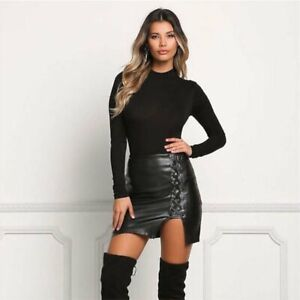 THE FEDERATION LEATHER LOOK LACE UP MINI SKIRT BRAND NEW CROSS DRESS