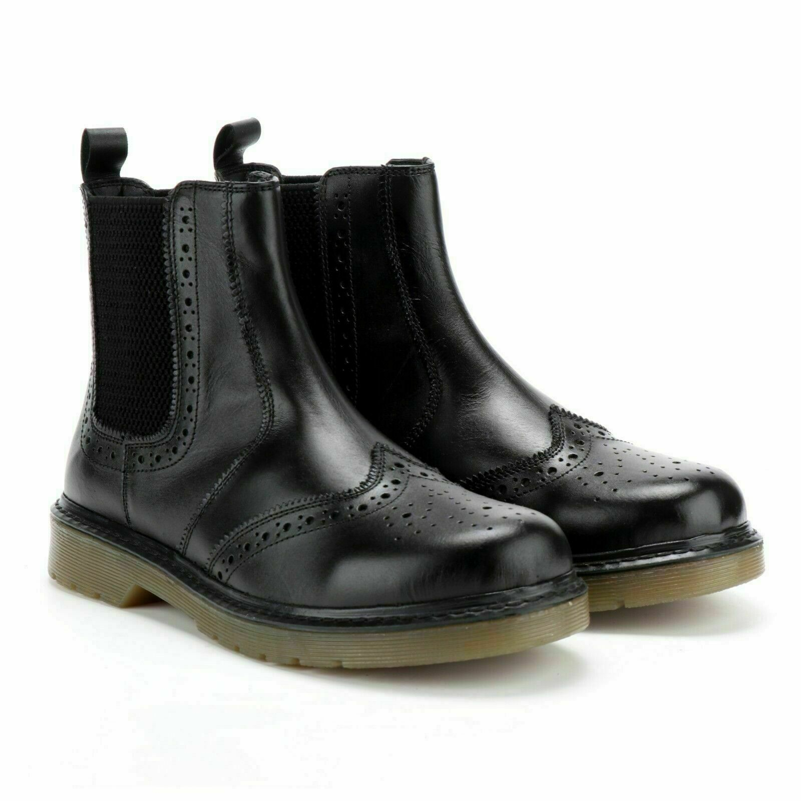 Mens Leather Chelsea Dealer Leather Boots Gum Rubber Sole Ankle Brogue Driving