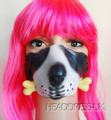 Dog Bone Comedy Latex Half Face Mask Costume Fancy Dress Party