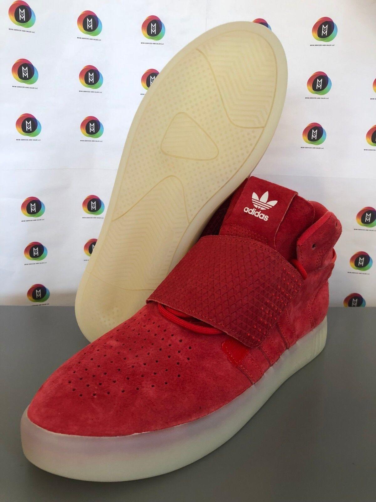 Adidas Originals Tubular Invader Strap Red Mens BB5039 Suede Sneakers