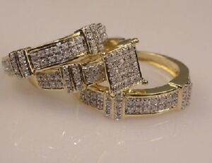 Diamond-Wedding-14K-Yellow-Gold-Over-Trio-His-amp-Her-Bridal-Band-Engagement-Set