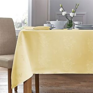 Image Is Loading WOVEN DAMASK ROSE YELLOW RECTANGLE TABLECLOTH 70 X