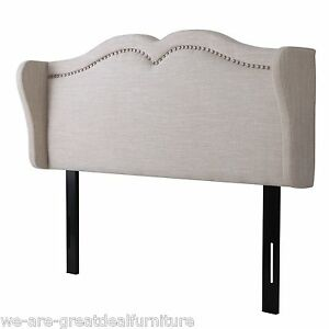 Contemporary Adjustable Beige Fabric Headboard For King Cal King