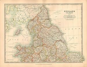 Map Of England Durham.Details About 1911 Large Victorian Map England Wales Northern Sheet York Durham Derby Etc