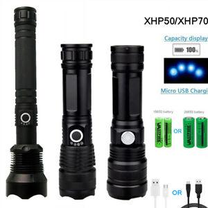 Leistungsstarke-XHP50-XHP70-2-LED-Zoom-Taschenlampe-USB-Zoomleuchten-26650
