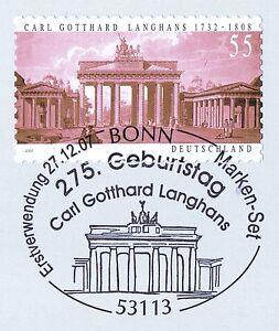Rfa 2007: Porte De Brandebourg! Autocollantes Nº 2636 Avec Cachet De Bonn 1 A! 1810-afficher Le Titre D'origine