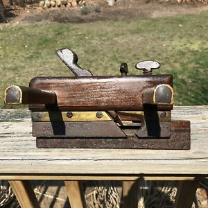 Antique M. Copeland Plow Woodworking Plane Warranted Wood & Brass Signed