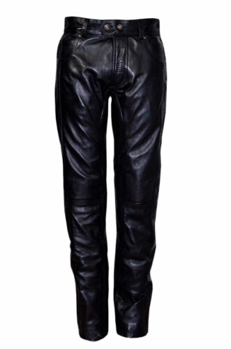 Mens Classic Slim Fit Biker Trousers Style Black Napa Leather Motorcycle Jeans