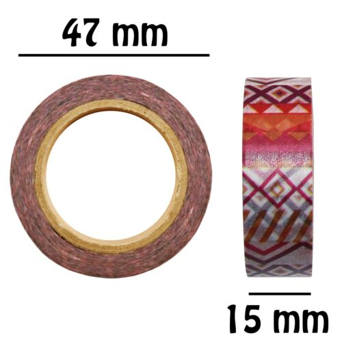 6//12 Rolls 10m Washi Sticky Tape Creative Art /& Craft Geometric Patterns Designs
