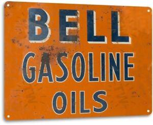 Bell-Gasoline-Oil-Gas-Pump-Station-Auto-Shop-Garage-Rustic-Metal-Decor-Sign
