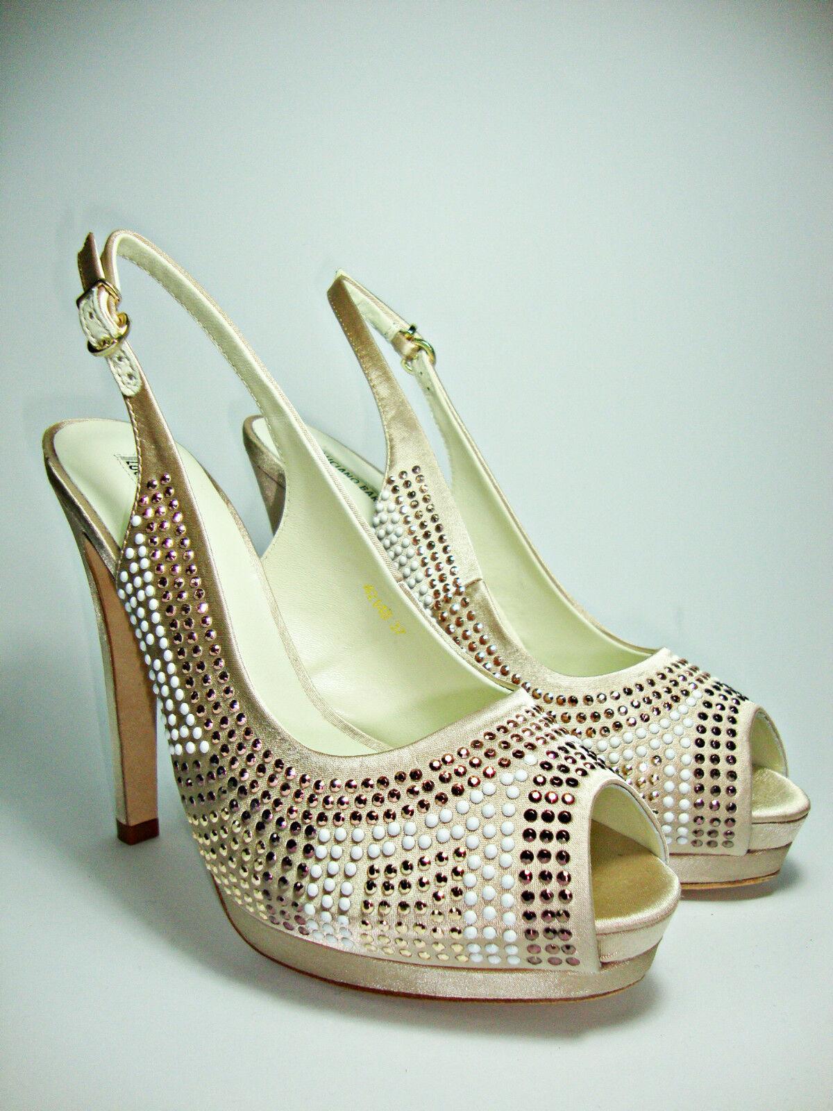 LUCIANO BARACHINI donna 4214B scarpe decoltè sandali donna BARACHINI strass gioiello tacco alto ca64fa