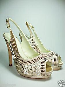 LUCIANO BARACHINI 4214B scarpe decolt sandali donna strass gioiello tacco alto