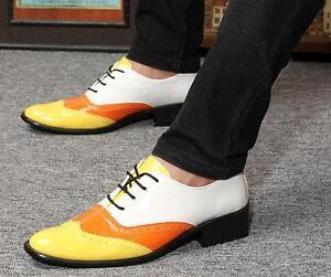 Fashion-Homme-a-Lacets-Bout-D-039-Aile-derbies-richelieu-a-Tige-En-Cuir-Robe-Decontractee-Chaussures