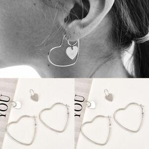 1-Pair-Heart-Women-Jewelry-Big-Earrings-Hip-Hop-Silver-Dangle-Ear-Studs-Gift