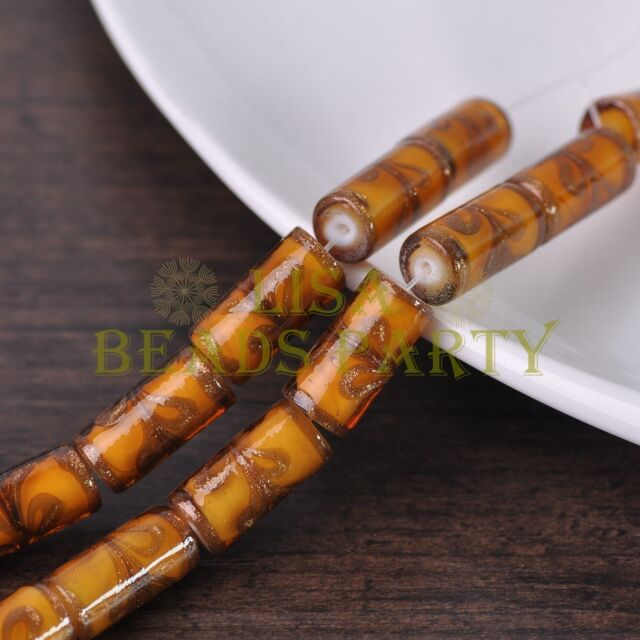 5pcs 20x10mm Brown Tube Cylinder Shape Lampwork Glass Loose Spacer Beads
