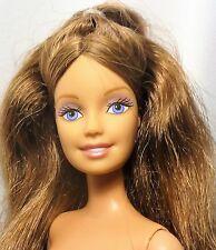 Barbie Brunette Light blue eyes Belly button model Bendable legs Doll - Nude