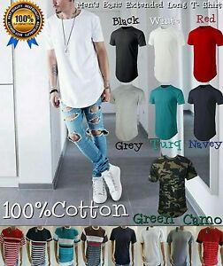 Men-039-s-Basic-Extended-Long-T-Shirt-Elongated-S-4XL-100-COTTON