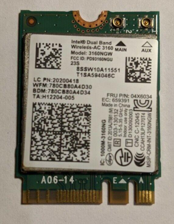 Intel Dual Band Wireless-AC 3160 3160NGW 802.11AC WiFi + Bluetooth 4.0 NGFF Card