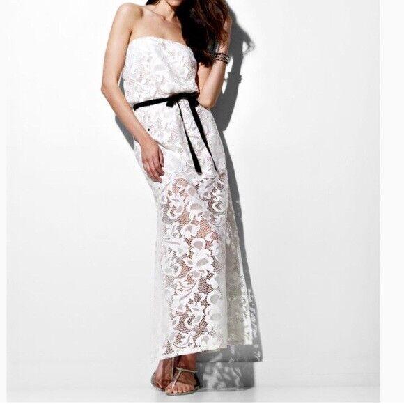 400 MIGUELINA  OLIVIA  LACE STRAPLESS BOHO BRIDAL MAXI DRESS S SMALL