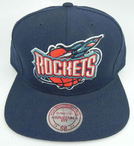 HOUSTON-ROCKETS-NBA-MITCHELL-amp-NESS-NAVY-VINTAGE-RETRO-SNAPBACK-CAP-HAT-NEW