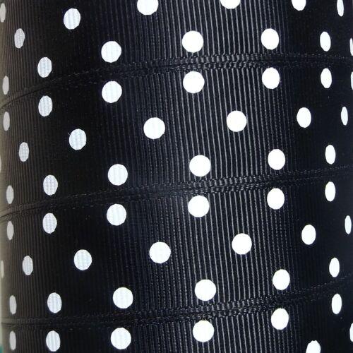 """22mm Polka Dot Grosgrain Ribbon 3 White Spots 7//8/"""" Wide Full Rolls 16 Colours"""