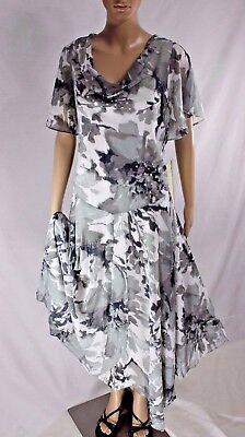 Roamans Plus Size Special Occasion Sage White Sequins Beads Hanky Hem Dress  $179 | eBay