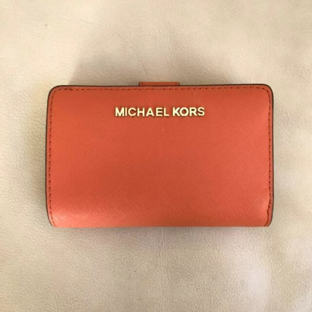 69e6adc0c6d8 Michael Kors Jet Set Travel Ballet Pink Gold Bifold Zip Coin Leather ...