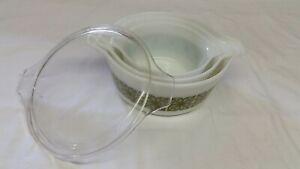 Vintage 3 Pyrex Cinderella Bowls Green Square Flowers 2.5 Qt lid-1.5 qt 1qt no L