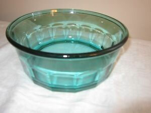 Details about Arcoroc Glass Bowl Salad Serving Thumbprint Panel Teal Green  Blue 2 75 Qt France