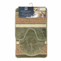 3 piece bathroom rug set, includes area rug, contour rug and lid