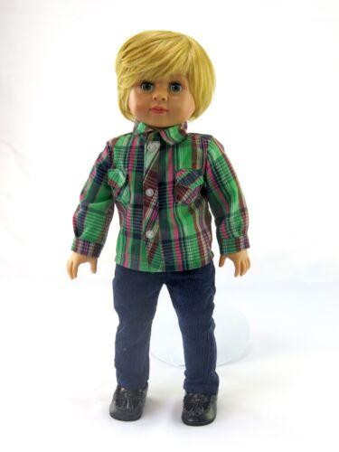 Green Plaid Shirt /& Pants For 18 Inch American Girl Boy Doll Clothes 2 PC Set