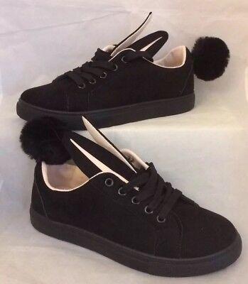 Señoras zapatillas de conejo talla 6 Negro Encaje Pom Pom Bombas de ante de imitación conejo desnuda