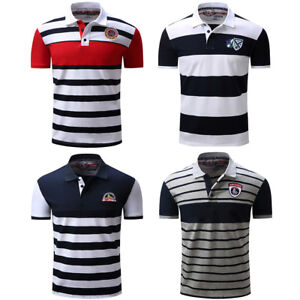 Men-Polo-Shirt-2017-New-Men-039-s-Short-Sleeve-Polo-Shirts-Striped-Cotton-T-Shirt