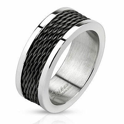 New 316L Stainless Steel Men's Black Wire Center Band Ring, Sizes 9-13 (0036)