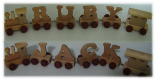 Personalised Gift Name Letters Wooden Alphabet Train Letters