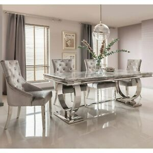 The Arianna Grey Marble Dining Set With 4 6 Knocker Back Dining Chairs 180 Cm Ebay