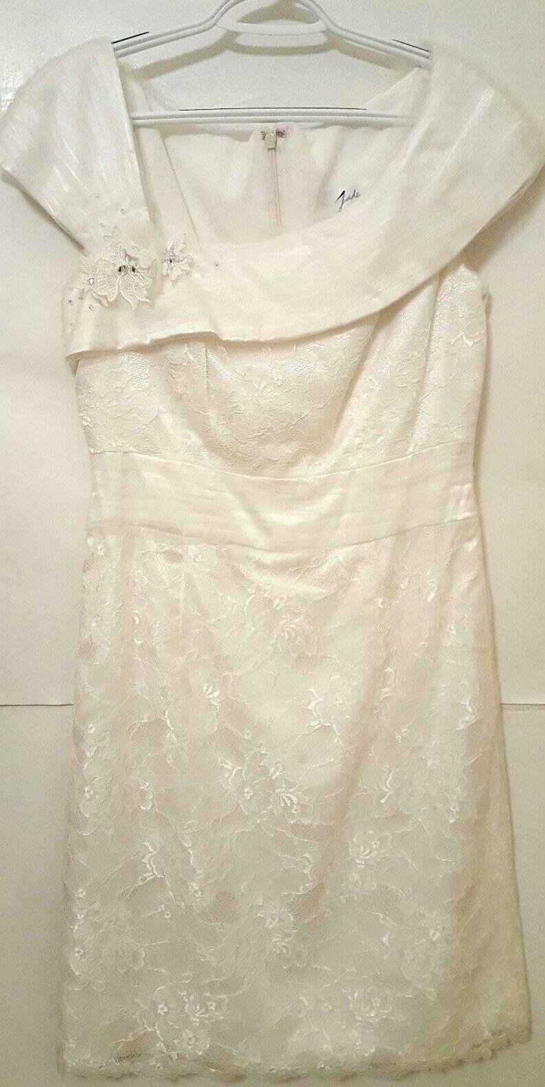 Jade By Jasmine Ladies Größe 8 Ivory Formal Lace Cocktail Dress - Nwots