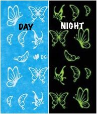 Nail Art Water Decals Glow in the Dark Night Time Butterflies DG007