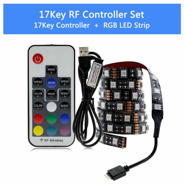 5050 RGB LED Strip Background 60LED//M Light 5V USB 17//24Key//Music Controller Set