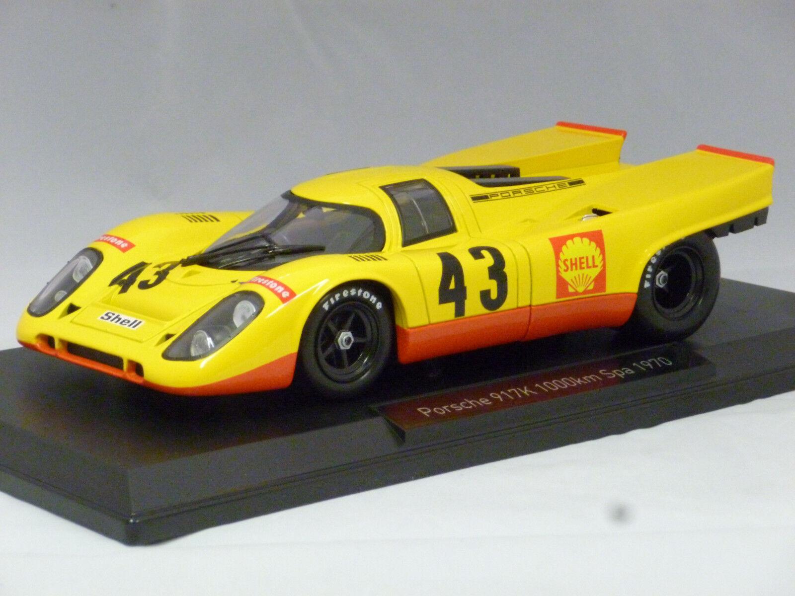 Porsche 917K Aaw Spa Francorchamps   43 1970 jaune, Model voiture 1 18   Norev  qualité garantie