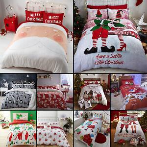 100-algodon-peinado-de-Navidad-flanelita-festivo-Navidad-Funda-De-Edredon-Conjuntos-de-Cama