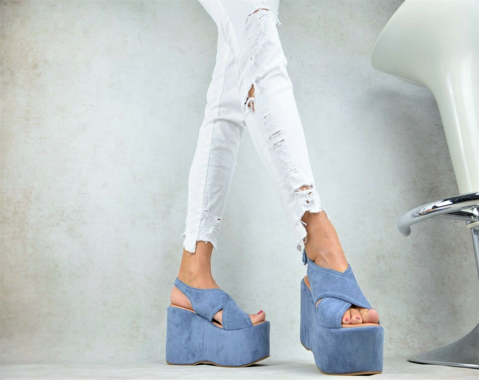 Super Sexy XXL Platform High Heels Wedge Ladies' shoes Party Court bluee