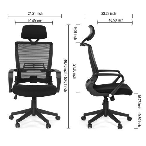 Folded Mesh Ergonomic Office Folding Chair Molded Foam W//Adjustable Headrest