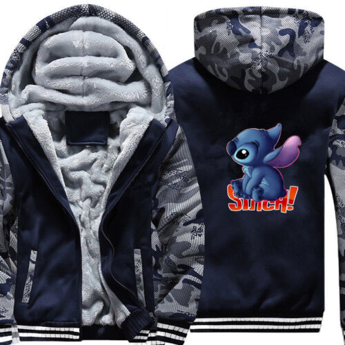 Anime lilo stitch Hoodies Boys Men Zip Sweatshirts Thick Warm Coat  Jacket!SF