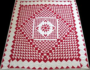 Unused Antique 1920's Hand Stitched 7 spi Red Mariner's Compass Quilt 81x81
