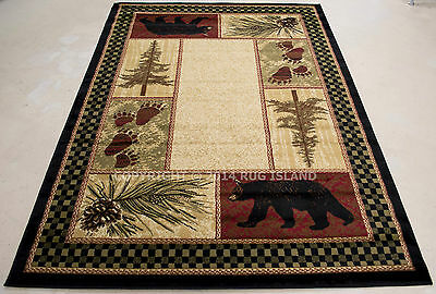 Lodge Cabin Rustic Bear Pinecone Black Green Brown Red Area Rug *FREE SHIPPING*