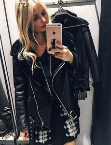 best loved to buy great variety models Details about ZARA BLACK FAUX Leather Shearling FUR COLLAR AVIATOR BIKER  JACKET Coat 2969/248