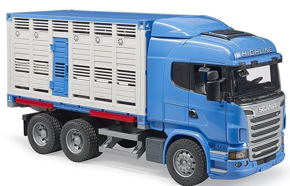 BRU3549 - Camion 6x4 SCANIA R Highline porteur bétaillère déposable avec 1 bovin